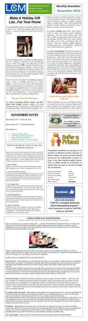 November 2014 Newsletter