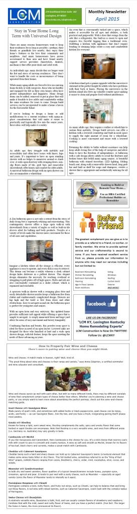 April 2015 LCM Newsletter